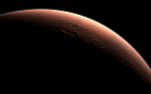 Illustration depicting part of Mars at the boundary between darkness and daylight.のイラスト素材 [FYI02107109]
