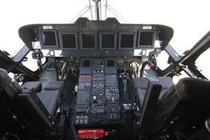 Cockpit view of an EH101 utility helicopter.の写真素材 [FYI02107120]