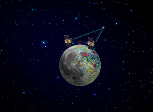 Twin GRAIL spacecraft map the moon's gravity field.のイラスト素材 [FYI02107264]