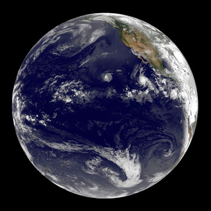 View of Earth showing three tropical cyclones in the Pacific Ocean.の写真素材 [FYI02107280]
