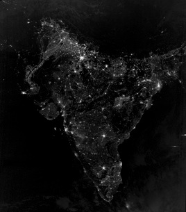 Satellite view of city, village, and highway lights in India.の写真素材 [FYI02107293]