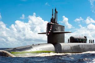 The Ohio-class guided missile submarine USS Georgia.の写真素材 [FYI02107386]