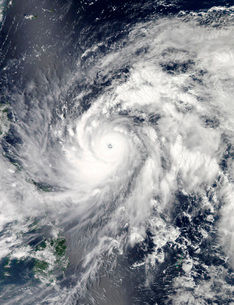 Typhoon Sanba over the Pacific Ocean and part of the Philippines.の写真素材 [FYI02107387]
