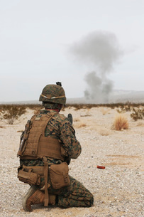 U.S. Marine provides security as part of a training assault.の写真素材 [FYI02107432]