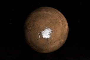 Nadir view of the Martian South Pole.の写真素材 [FYI02107451]