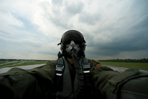 Self-portrait of an aerial combat photographer.の写真素材 [FYI02107501]