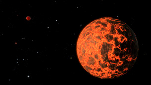 Artist's concept of an exoplanet known as UCF-1.01, orbiting a star called GJ 436.のイラスト素材 [FYI02107504]