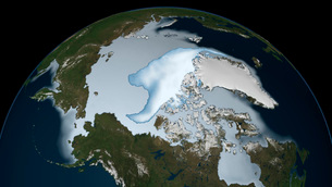 Planet Earth showing sea ice coverage in 2012.の写真素材 [FYI02107652]