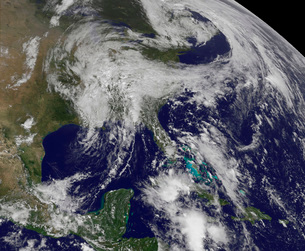 Satellite view of a low pressure area over the United States.の写真素材 [FYI02107659]
