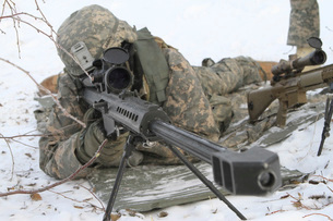 Snipers provide overwatch at Fort Wainwright, Alaska.の写真素材 [FYI02107747]