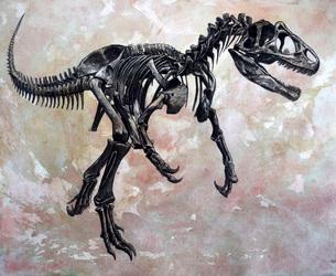 Allosaurus dinosaur skeleton.のイラスト素材 [FYI02107787]