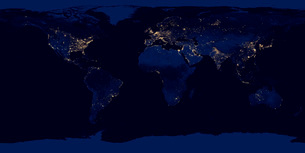 Flat map of Earth showing city lights of the world at night.の写真素材 [FYI02107889]