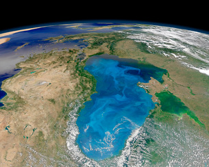Satellite view of swirling blue phytoplankton bloom in the Black Sea.の写真素材 [FYI02107891]