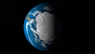 Ful Earth showing simulated clouds over Antarctica.の写真素材 [FYI02107894]