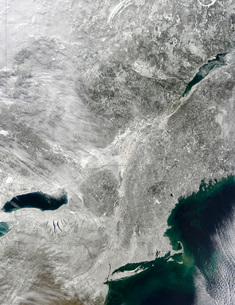 Satellite view of a large Nor'easter snow storm over United States.の写真素材 [FYI02108034]