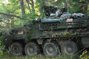A U.S. Army soldier pulls security in a Stryker armored vehicle.の写真素材 [FYI02108071]