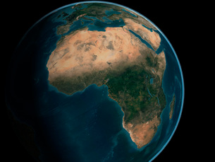 Full Earth from space above the African continent.の写真素材 [FYI02108073]