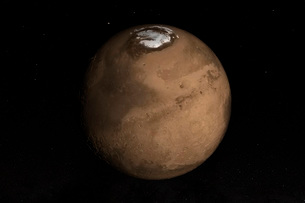 Planet Mars slightly tilted to show the Martian North Pole.の写真素材 [FYI02108082]