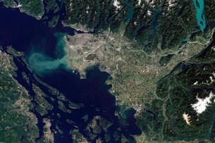Satellite view of the Frasier River, British Columbia, Canada.の写真素材 [FYI02108207]