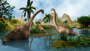 Brachiosaurus dinosaurs grazing in a prehistoric environment.のイラスト素材 [FYI02108269]