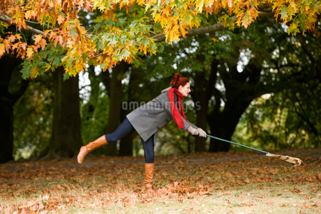 A young woman raking up autumn leavesの写真素材 [FYI02108489]
