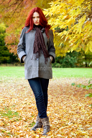 A young woman standing next to a tree in autumn timeの写真素材 [FYI02108696]