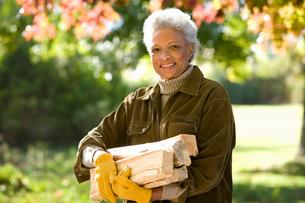 Senior woman collecting firewood in autumn garden, smiling, portraitの写真素材 [FYI02110457]