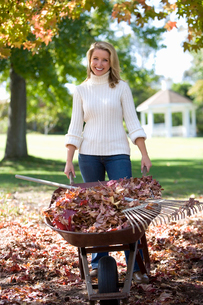Woman collecting autumn leaves in garden, holding full wheelbarrow, smiling, front view, portraitの写真素材 [FYI02111196]