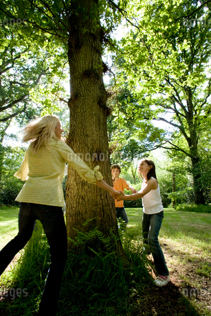 Family of four holding hands around tree in forest (blurred motion)の写真素材 [FYI02111661]