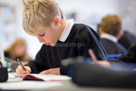 Boy doing homework in classroomの写真素材 [FYI02113241]