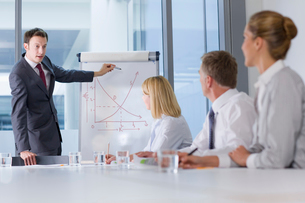 Businessman presenting graph to co-workers in meetingの写真素材 [FYI02114737]