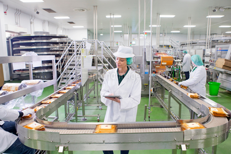 Quality control worker with digital tablet at production line in cheese processing plantの写真素材 [FYI02115543]