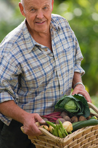 Senior man carrying basket of fresh vegetables from garden, smiling, portraitの写真素材 [FYI02115723]