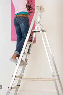 Young woman on ladder putting up wallpaper, low sectionの写真素材 [FYI02115924]