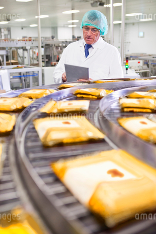 Quality control worker with digital tablet at production line in cheese processing plantの写真素材 [FYI02115980]