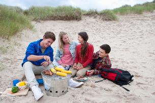 Teenage couples enjoying barbecue on beachの写真素材 [FYI02117144]