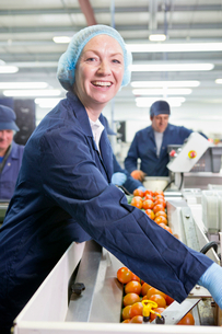 Portrait smiling quality control worker checking tomatoes at production line in food processing planの写真素材 [FYI02117911]