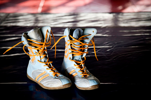 Close up of boxers boots on a training floorの写真素材 [FYI02118477]