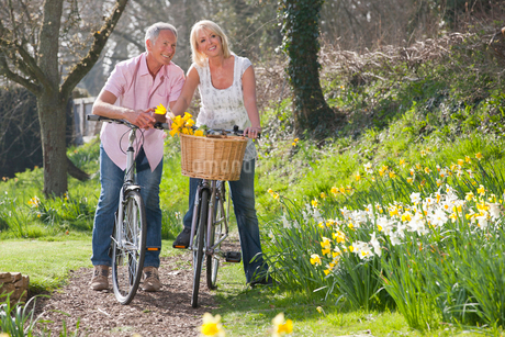 Smiling senior couple with bicycles on path in sunny park with daffodilsの写真素材 [FYI02118532]