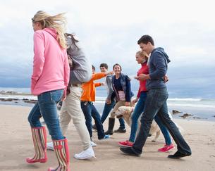 Teenage friends and dog walking on beachの写真素材 [FYI02118901]