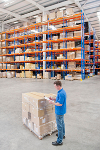 Worker with clipboard standing next to pallet of cardboard boxes in distribution warehouseの写真素材 [FYI02118928]