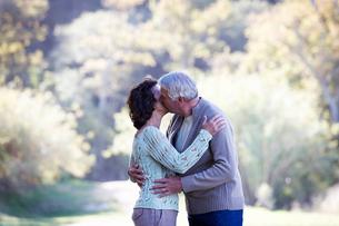 A senior couple kissingの写真素材 [FYI02120090]