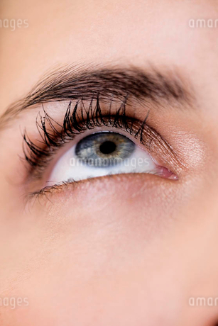 Woman's right eye and eyebrow, looking upwardsの写真素材 [FYI02120143]