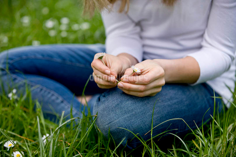 A young woman sitting on the grass, making a daisy chainの写真素材 [FYI02121974]