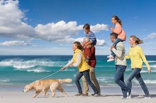 Multi-generation family walking with dog on sunny beachの写真素材 [FYI02122131]