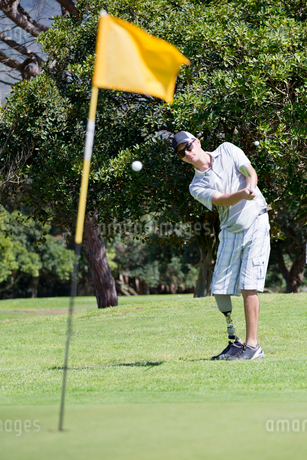 Male Golfer With Artificial Leg On Course Hitting Ball Onto Greenの写真素材 [FYI02122613]