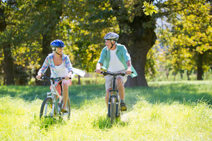 Senior couple, mountain biking, in treelined fieldの写真素材 [FYI02122922]