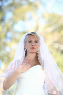 Bride Wearing Dress Outdoors On Wedding Dayの写真素材 [FYI02123297]