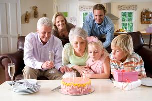 Family celebrating girl痴 birthdayの写真素材 [FYI02123375]