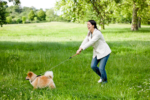 A young woman being pulled along by her dogの写真素材 [FYI02123450]